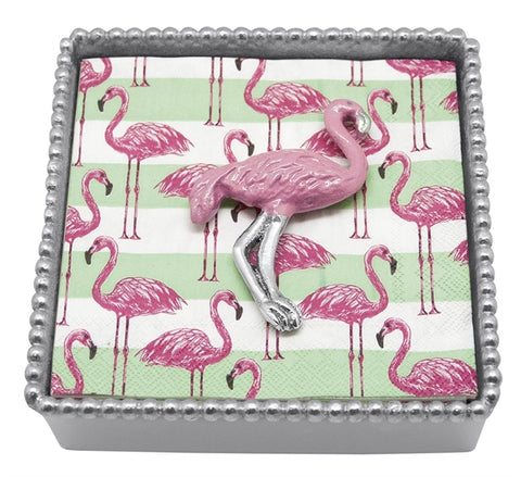 Mariposa Pink Flamingo Beaded Napkin Box