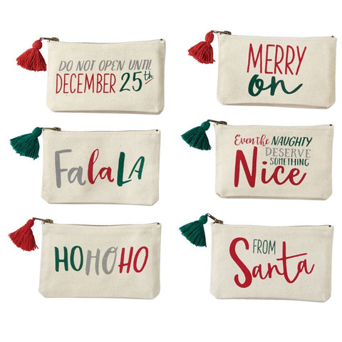 Mud Pie Christmas Canvas Pouch