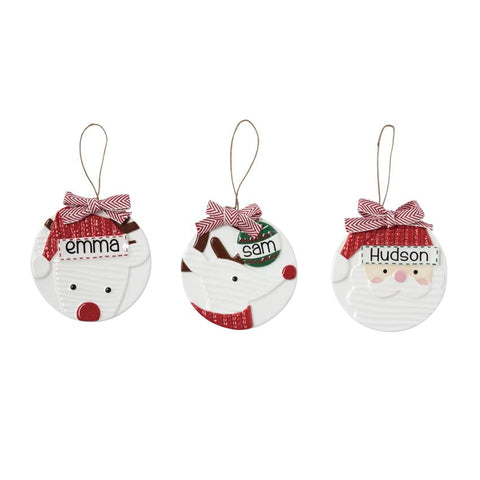 Mud Pie Personalized Character Ornaments