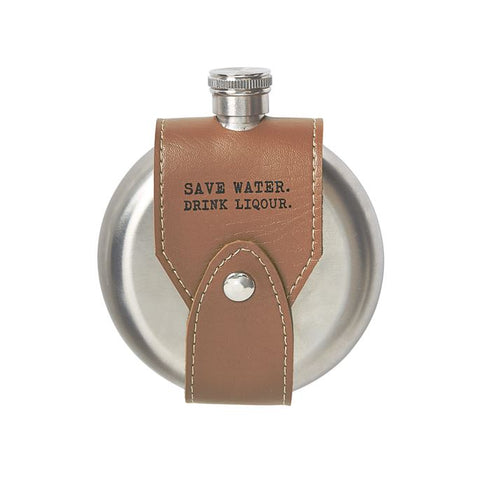 Mud Pie Leather Sentiment Flask