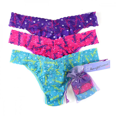 Hanky Panky Have a Great Weekend 3 Pack Original Rise Thong
