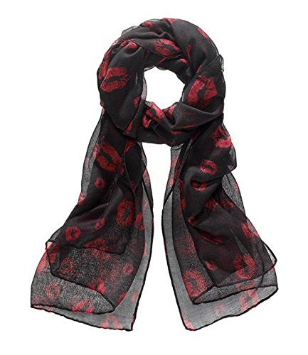 Ganz Wild Red and Black Kisses Scarf - ShopBody.com