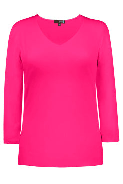 Judy P Relaxed Fit 3/4 Sleeve V-Neck