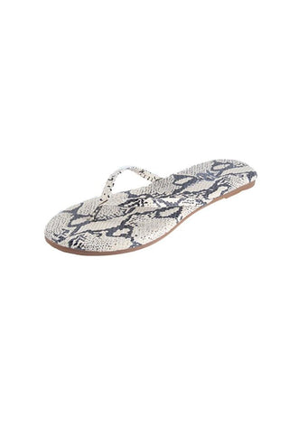 Yosi Samra Snake Embossed Leather Flip Flop