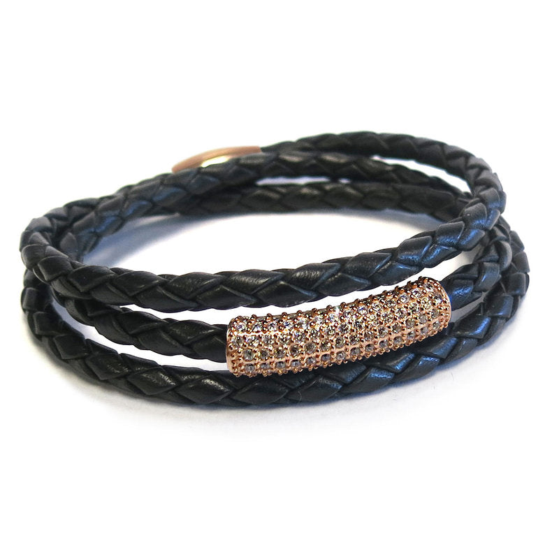 Liza Schwartz SOBE Black Bar Triple Wrap Bracelet