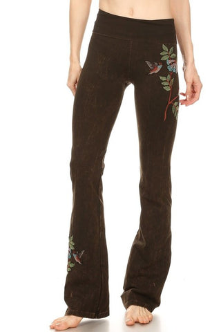 T-Party Hummingbird Embroidered Mineral Yoga Pant