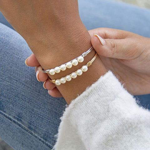 Luca + Danni Crystal Pearl Bangle Bracelet Classic White