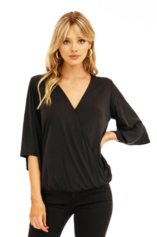 Veronica M Black Cupro Surplus Top