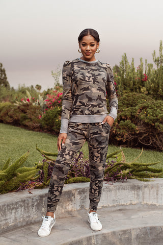 Veronica M Puff Sleeve Camo Sweatshirt