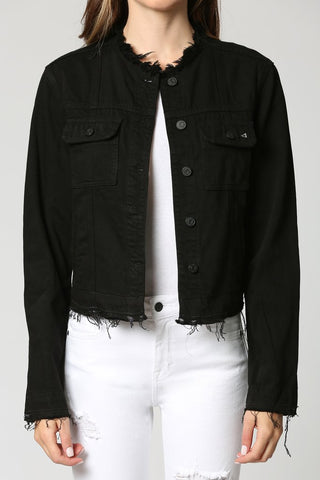 Hidden Jeans Collarless Jacket