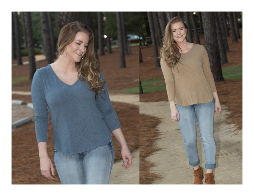 Pine Apparel Distressed 3/4 Sleeve V-Neck Tee