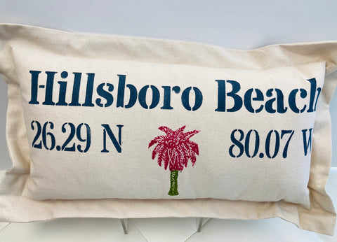 Lowcountry Linens Hillsboro Beach Pillow - Palm Tree