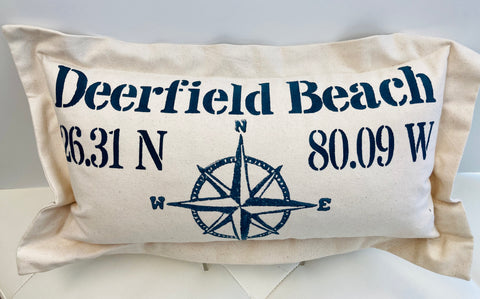 Lowcountry Linens Deerfield Beach Pillow - Compass