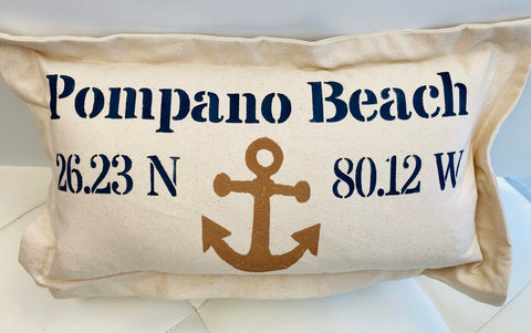 Lowcountry Linens Pompano Beach Pillow - Anchor