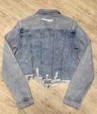 Hidden Jeans Cropped Fray Jacket