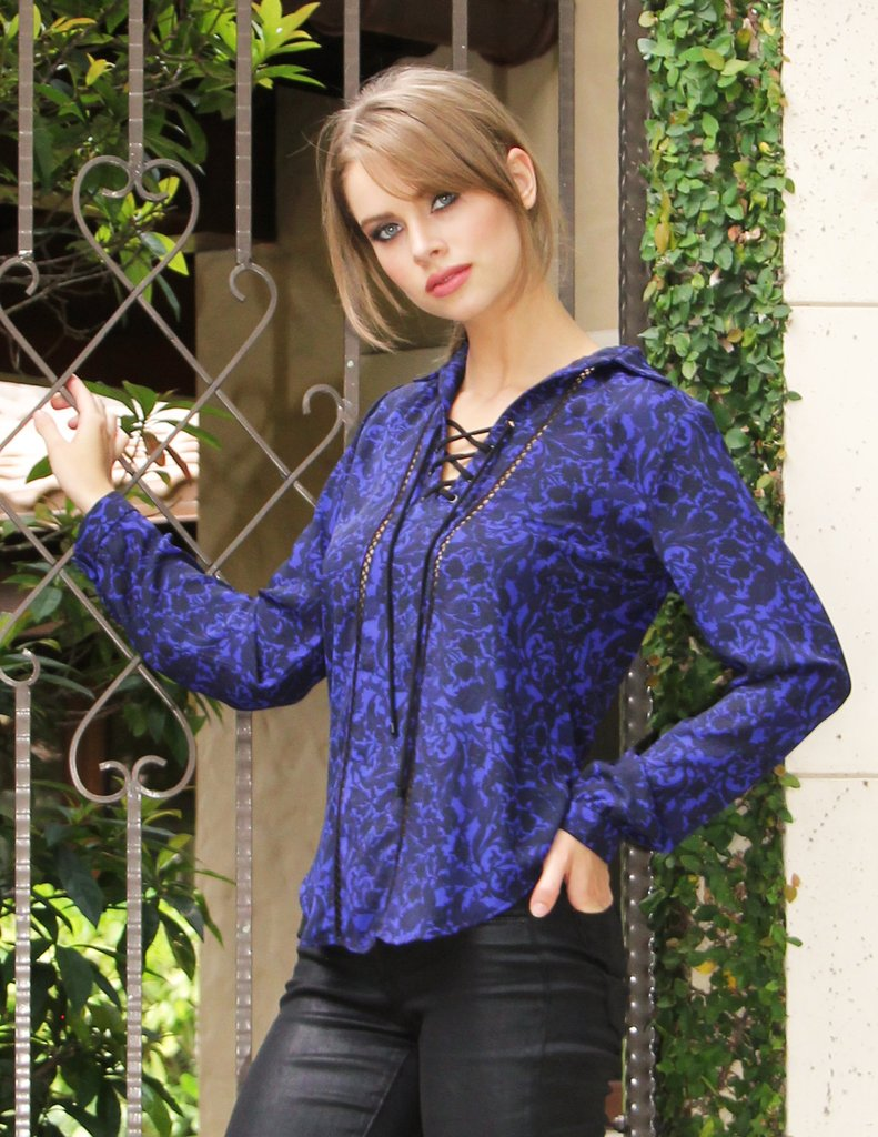Atina Cristina Gina Lace Up Blouse