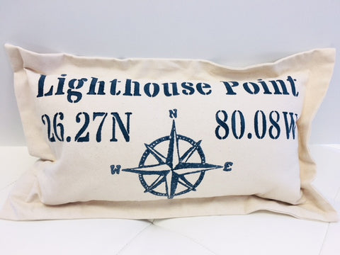 Lowcountry Linens Lighthouse Point Pillow - Compass