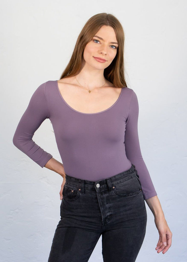 AMB Classic Scoop Neck 3/4 Sleeve Top