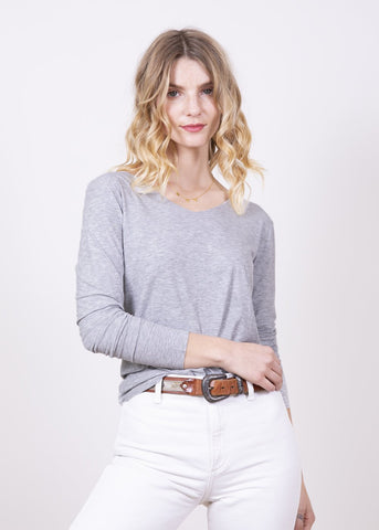 AMB Kate Long Sleeve V Neck Top