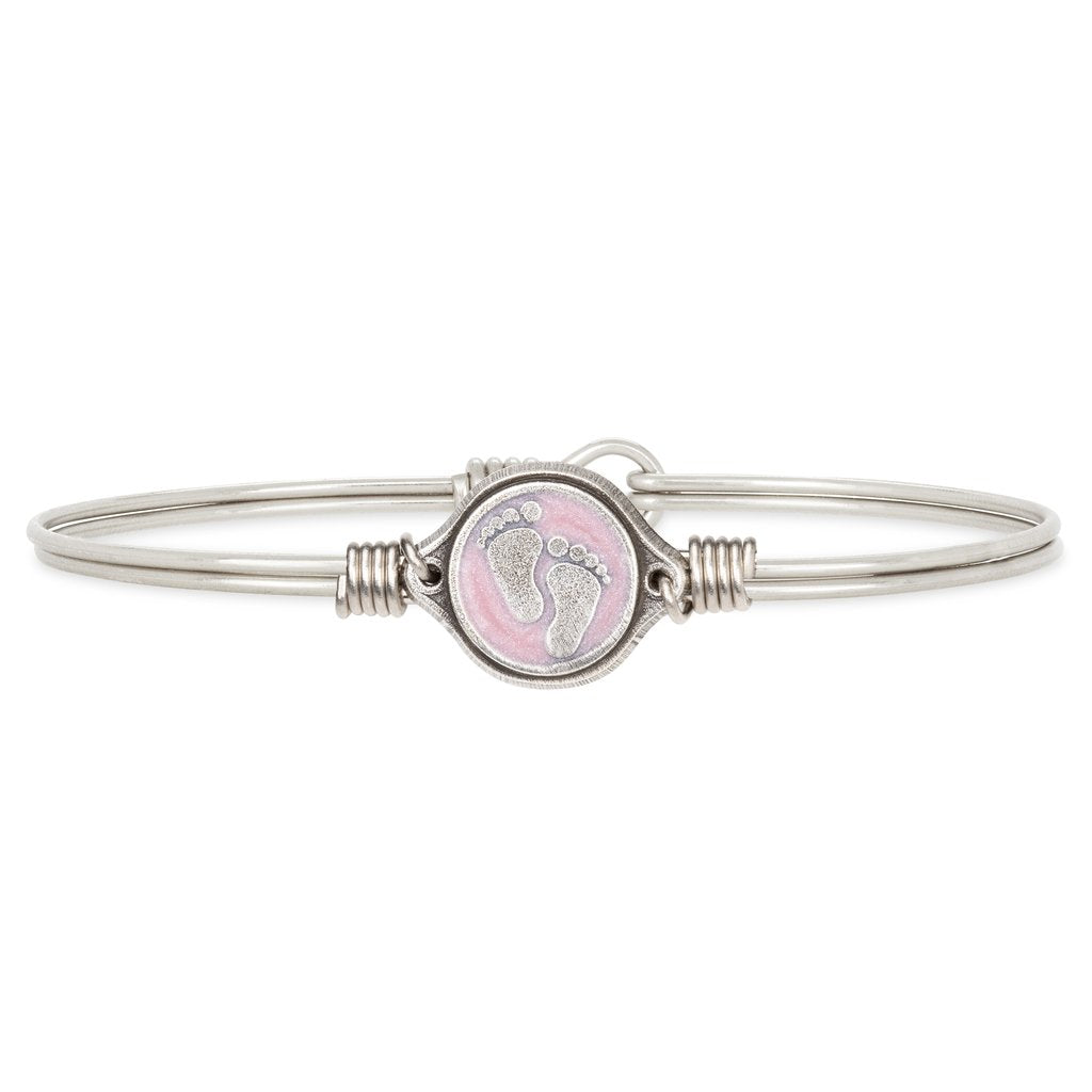 Luca + Danni Little Footsteps Bangle Bracelet - Pink