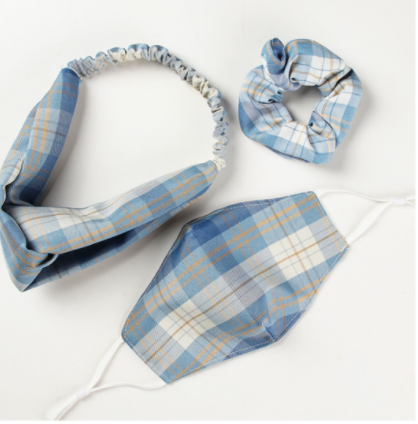 Gemelli Mask & Hair Set - Blue Plaid