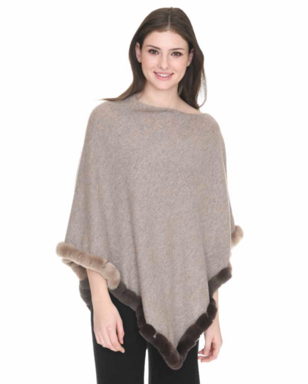 in Cashmere Fur Trim Topper