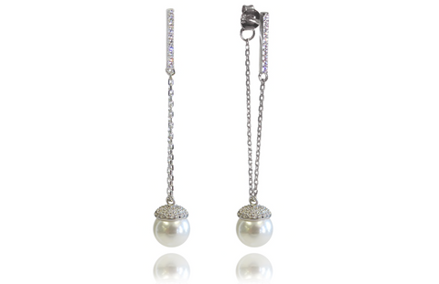 Liza Schwartz Champagne Pearl Drop Earrings