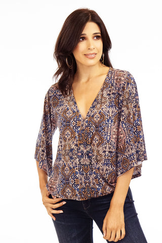 Veronica M. Kamala 3/4 Slv. Surplice Top
