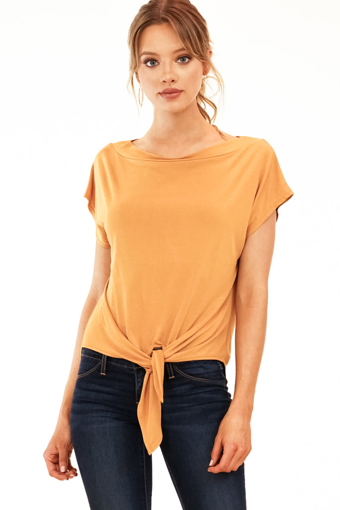 Veronica M. Boat Neck Tie Front Top