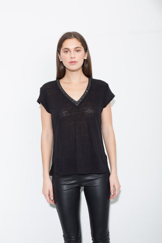 Generation Love Studded Neck S/S Top
