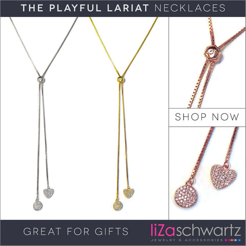 Liza Schwartz Playful Lariat Necklace Gold