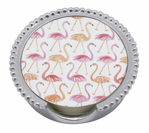 Mariposa Flamingo Beaded Coaster Set