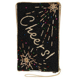 Mary Frances Toasted Cheers Beaded Crossbody Phone Bag