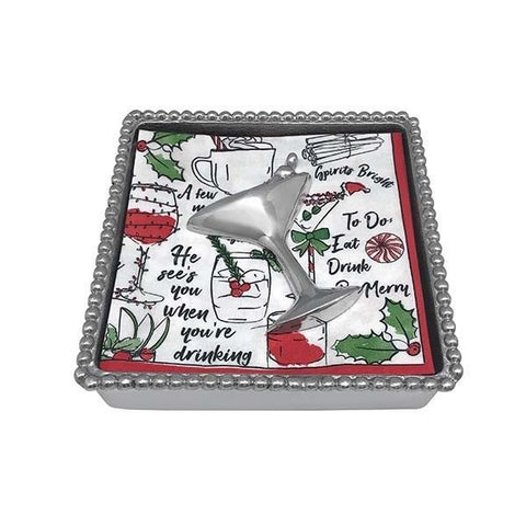 Mariposa Holiday Cocktail Beaded Napkin Box