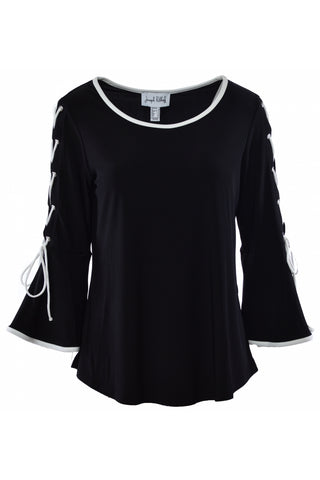 Joseph Ribkoff Lace-Up Bell Sleeve Top