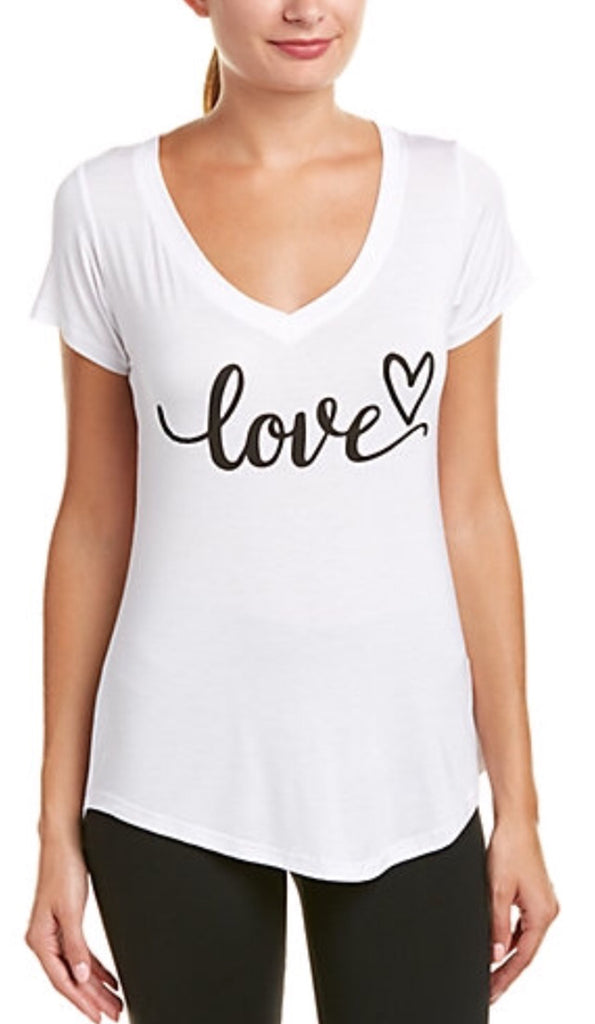 Bird & Vine Modal S/S V-Neck Love Heart
