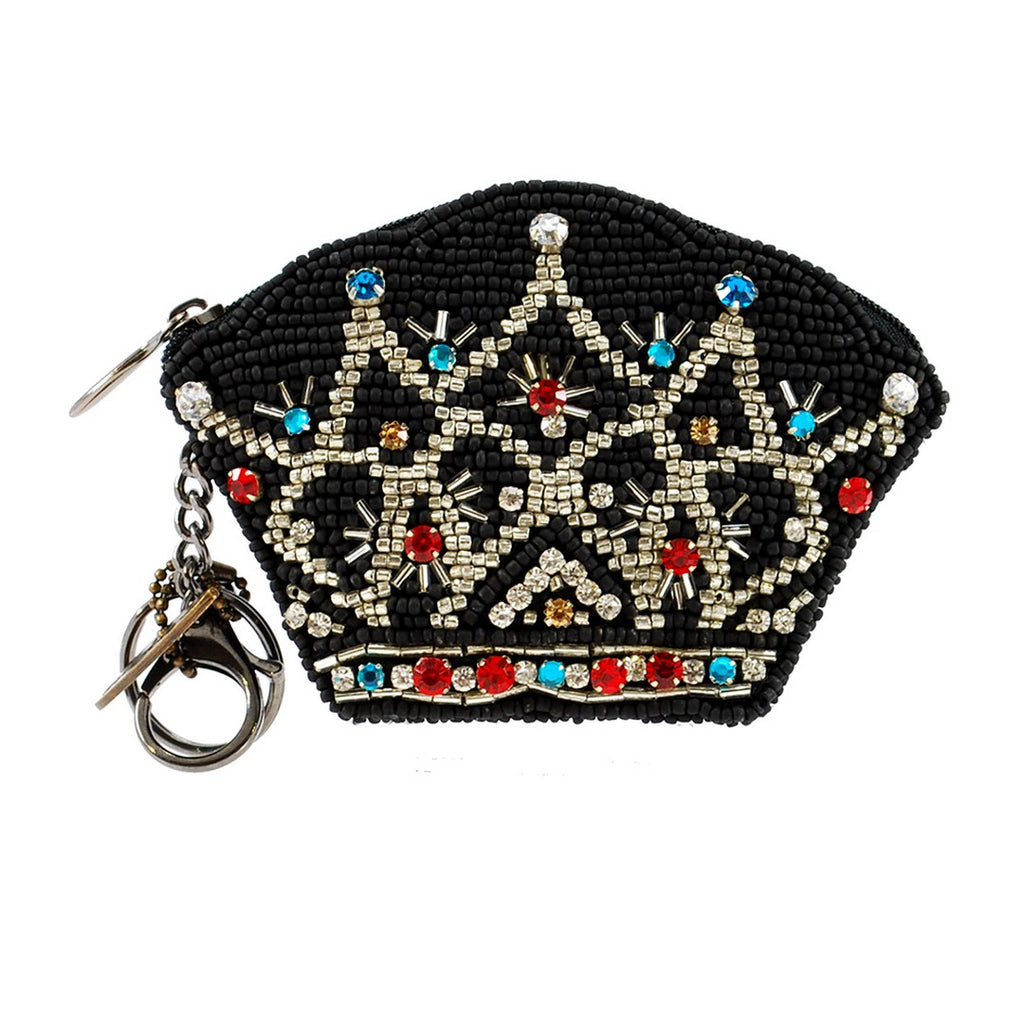 Mary Frances Queen Disc Beaded Coin Purse/Key Fob