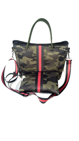Haute Shore Ryan Mini Tote - Green Camo Black & Red Stripe