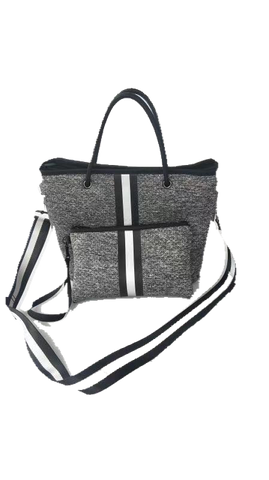 Haute Shore Ryan Mini Tote - Charcoal Marle Black & Silver Stripe