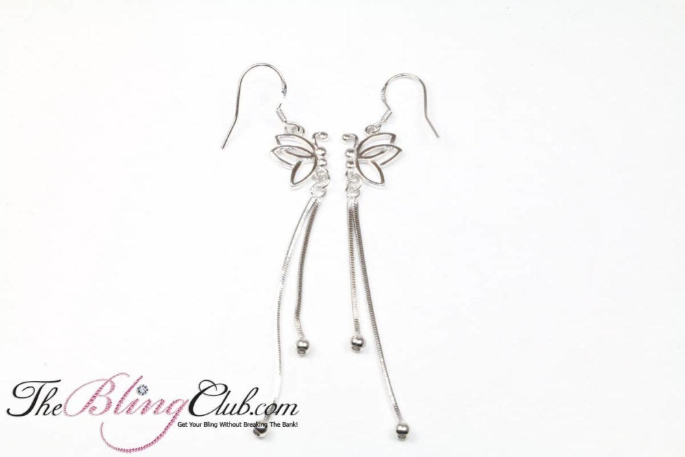 The Bling Club Sterling Silver Platinum Butterfly Earrings