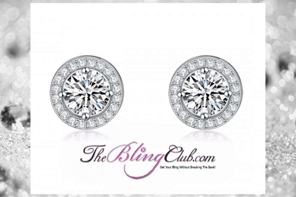 The Bling Club Classic Platinum Stud Halo Earrings