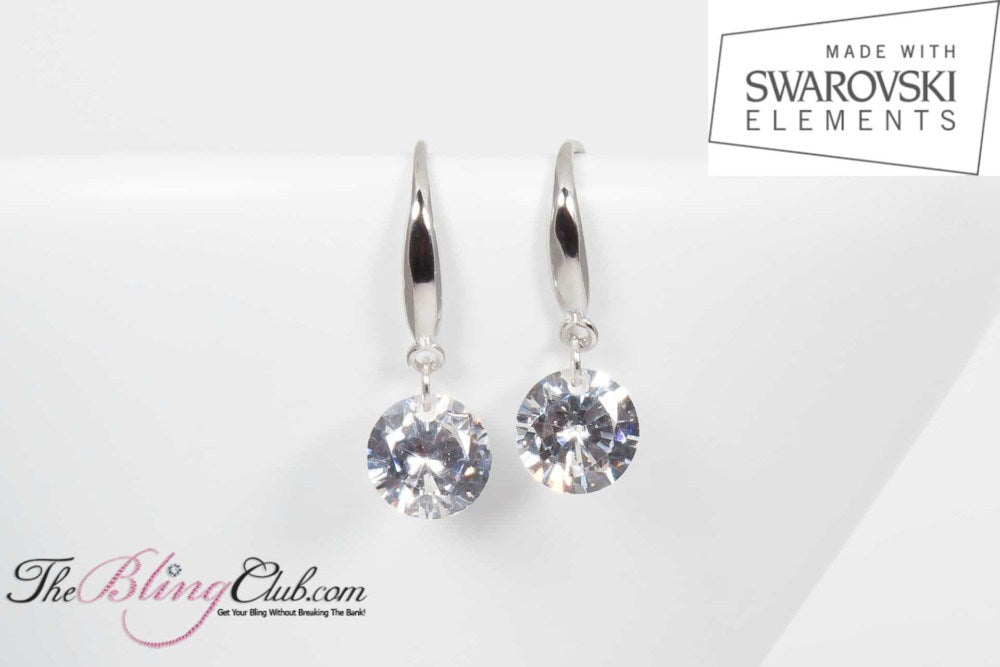 The Bling Club Sterling Silver & Platinum Single Drop Swarovski Earrings