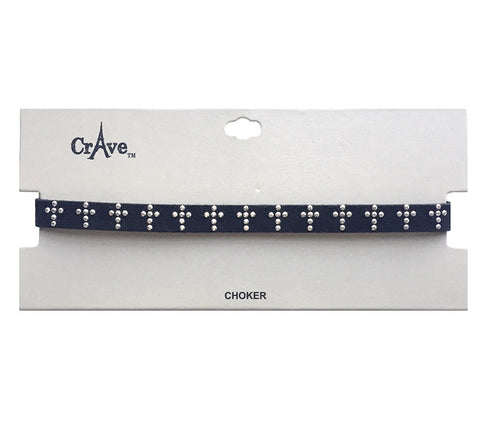 Crave Suede Cross Stud Choker - 3 Colors