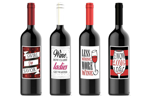 "Ladies Girls Night Out Custom Wine Labels for Four (4) Bottles 4.25"" x 5.5"" each"