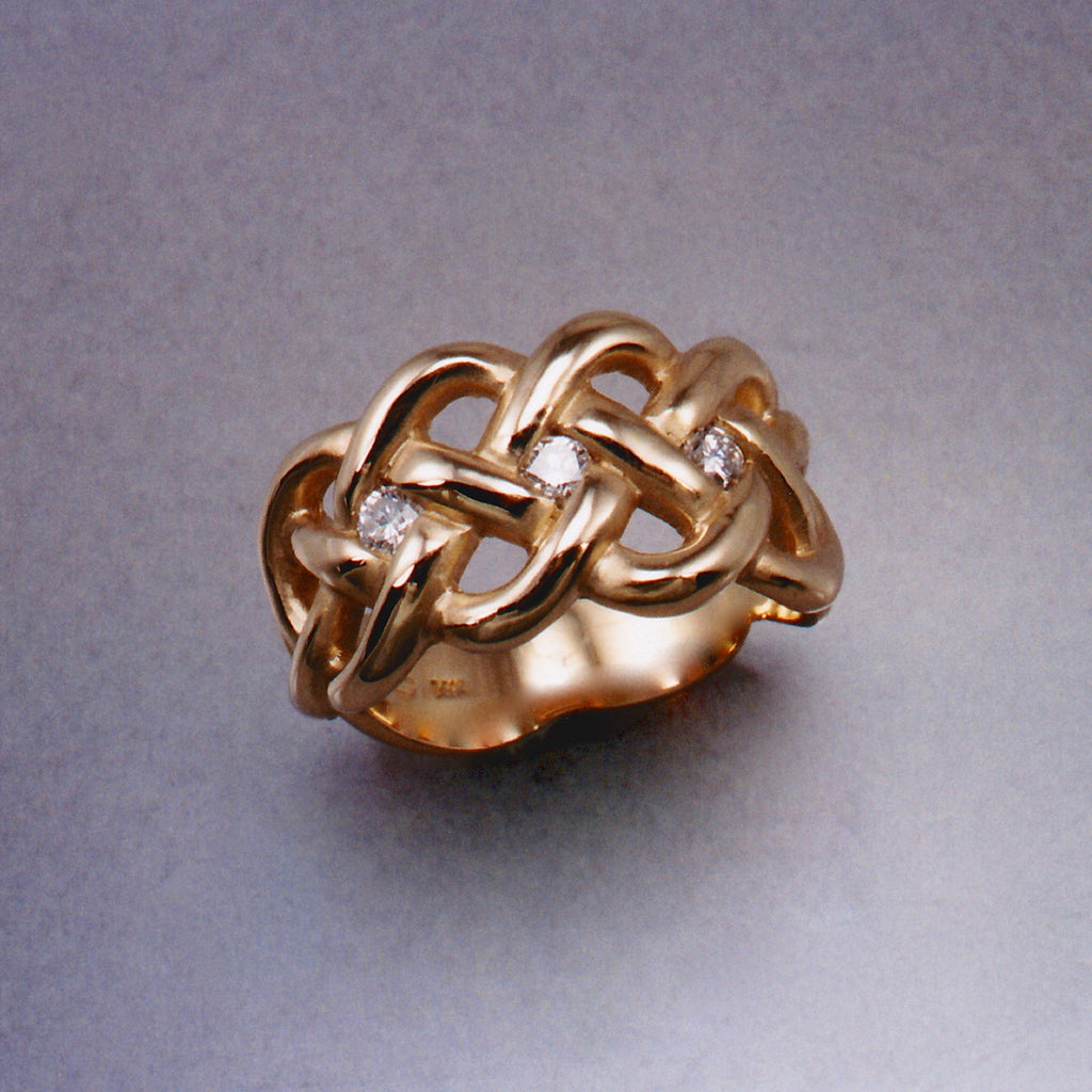 Kells Knot Ring With Diamonds Ostling Jewelry Design