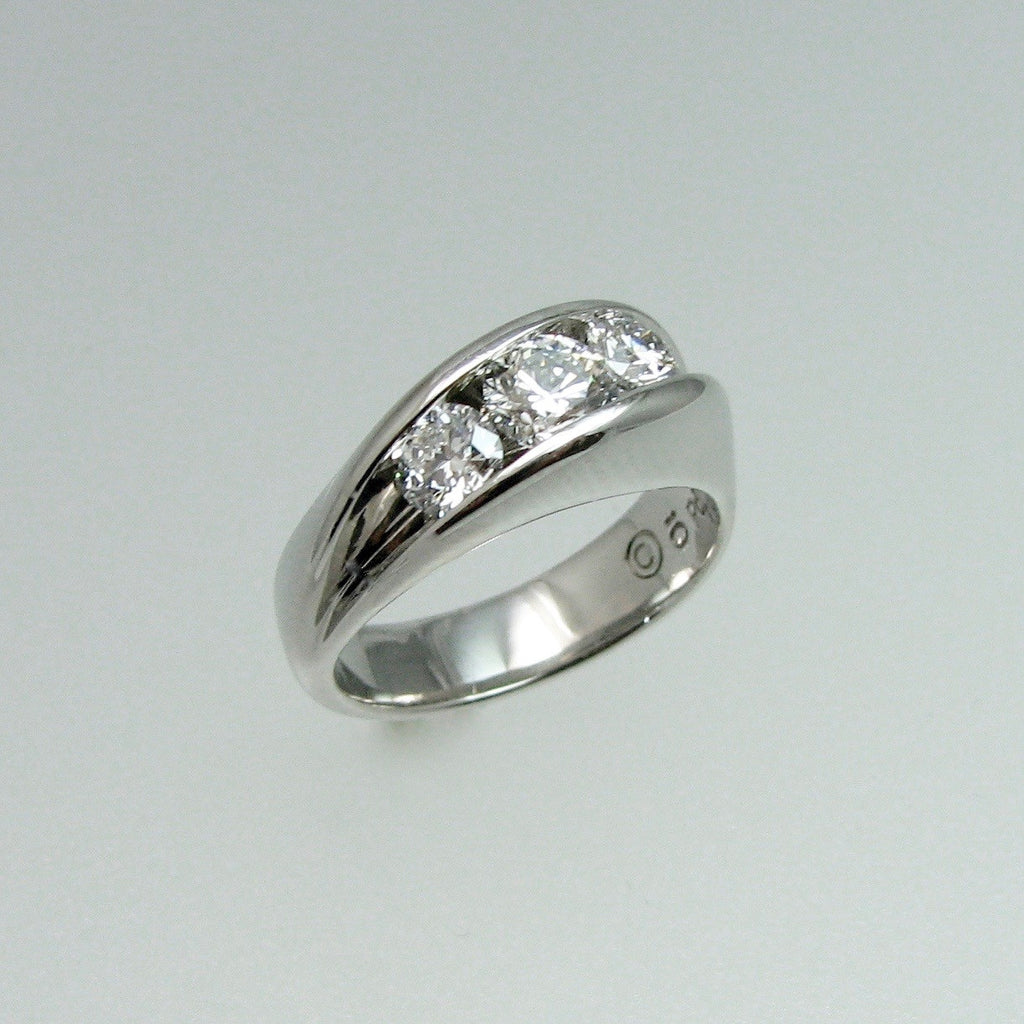 Waves Ring variation in Palladium with 1.10 ct t.w. diamonds