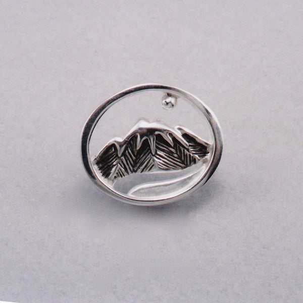 Moon River Tie Tack, Mountain Jewelry, Cascade Jewelry, Cascade Range Jewelry, Mountain Theme Jewelry, Leavenworth Mountain Jewelry, Mountain Rings, Mountain Pendants,