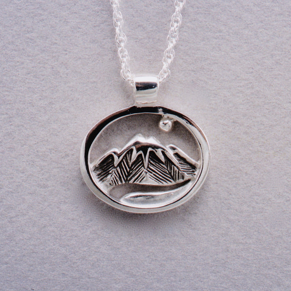 Moon River Pendant in Silver, Mountain Jewelry, Cascade Jewelry, Cascade Range Jewelry, Mountain Theme Jewelry, Leavenworth Mountain Jewelry, Mountain Rings, Mountain Pendants,