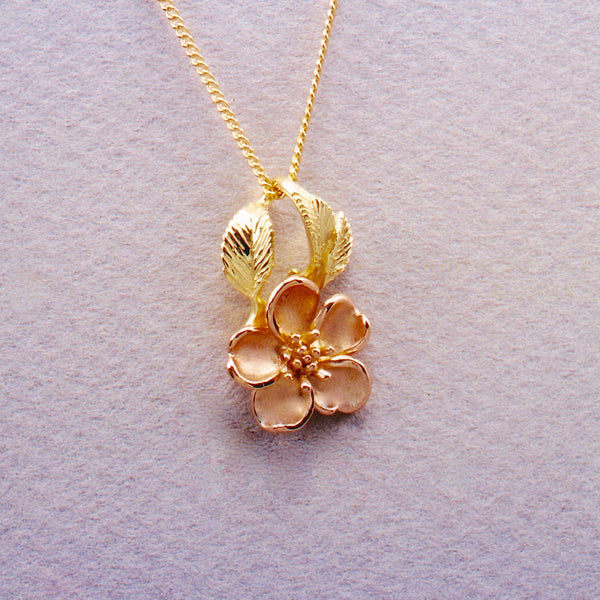 Wild Mountain Rose Two-Tone pendant,Wild Mountain Rose,Rose Jewelry,Rose Pendant,Rose Rings, Rose Earrings, Nootka Rose, Nootka Rose Jewelry, Pacific NW Rose, Wild Rose Jewelry