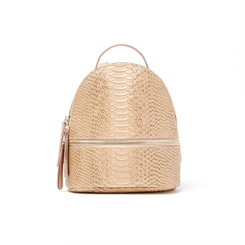 Kelly Small Backpack Nude Gold Snake Print Genuine Leather - Jules Kae Handbags and Accessories